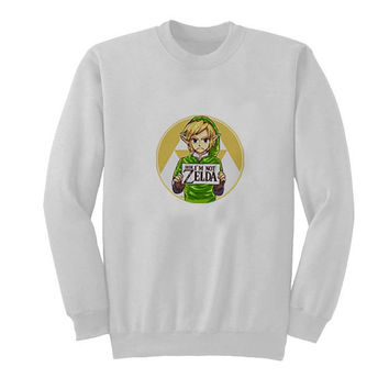 zelda sweater White Sweatshirt Crewneck Men or Women for Unisex Size with variant colour
