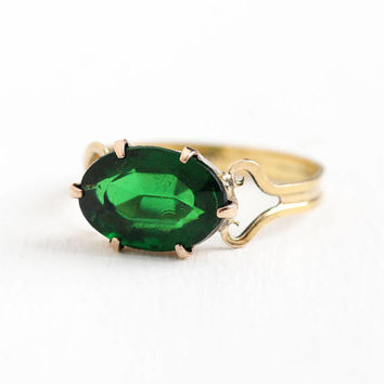 Vintage 1/20 10k Rosy Yellow Gold Filled Simulated Emerald Ring - 1940s Size 7 3/4 Oval Dark Green Glass Stone May Birthstone 40s Jewelry