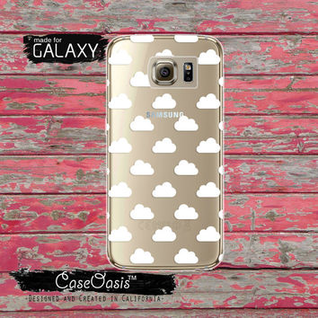 White Cloud Pattern Tumblr Cute Shape Cloudy Sky Clear Galaxy S6 Case and Clear Galaxy S6 Edge Case Galaxy S7 and S7 Edge
