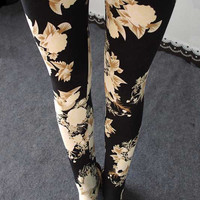 White Flower Elastic Leggings