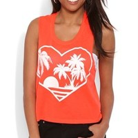 Deep Armhole Tank Top with Glitter Heart Sunset Screen
