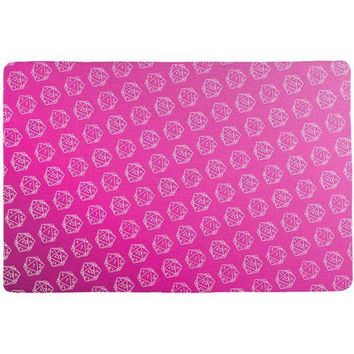 PEAPGQ9 D20 Gamer Critical Hit and Fumble Pink Pattern All Over Game Dice Mat