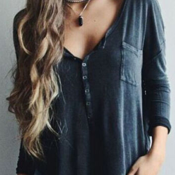Grey Buttoned Long Sleeve Top