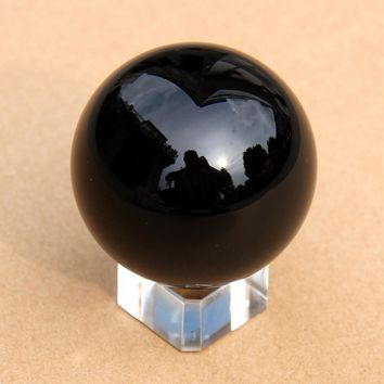 80mm Jet Black Natural Obsidian Crystal Ball + Stand