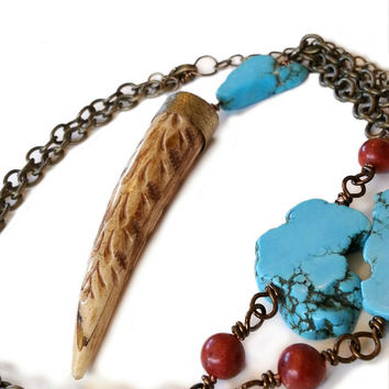 Beaded Turquoise And Coral Bronze Chain Necklace With Carved Tusk Pendant,Turquoise Slab And Red Coral Beaded Jewelry,Tribal Statement Tooth