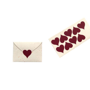 Heart stickers, Heart seals, Mini envelope stickers, Red heart sticker, Mini heart,Wedding stickers