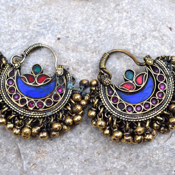 Afghan Kuchi Earrings,Crescent Tribal Earring,Bohemian Earring,Kuchi Jewelry,Antique Ethnic Earring,Hippie,Belly Dancer,Boho Gypsy Earrings