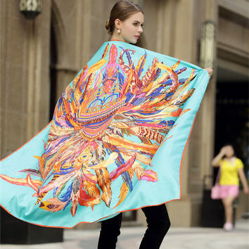 Luxury 100% Twill Silk Square Scarf Women Fashion Feather Crown Design Handkerchief Hot Ladies Real Silk Scarfs Big Shawl Summer