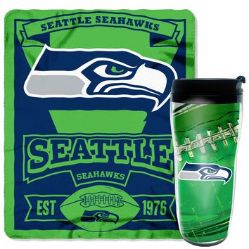 "Seahawks OFFICIAL National Football League, 16oz Travel Mug and 50""x 60"" Fleece Throw Gift Set  by The Northwest Company"
