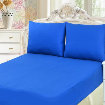 Tache 2 to 3 PC Cotton Solid Deep Blue Bed Sheet set (Fitted Sheet)