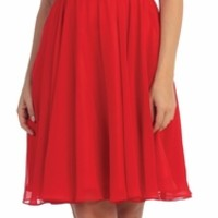Short Red V-Neck Semi Formal Dress Chiffon/Lace Knee Length