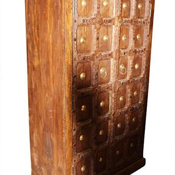Mogul Interior Antique Indian Carved Armoire Cabinet Brass Medallions Old Teak Farmhouse Design