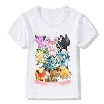 Boys and Girls Pop Eeveelutions  Go Cartoon Design T shirt Kids Casual Clothes Baby Summer White T-shirt,HKP5091Kawaii Pokemon go  AT_89_9