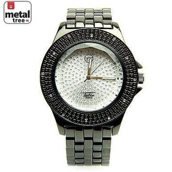 Jewelry Kay style Hip Hop Iced Out Fashion Men's Stainless Steel Metal Heavy Band Watches 8002 HE