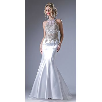 Embroidered Bodice Mermaid Prom Gown Cut Out Back Off White