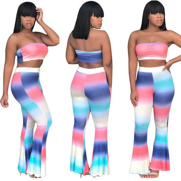 Bright Colorful Pants Sets For Women Strapless Crop Top Tye Dye Print Two Piece Outfits Long Pants 2017 Summer Overalls Mujer