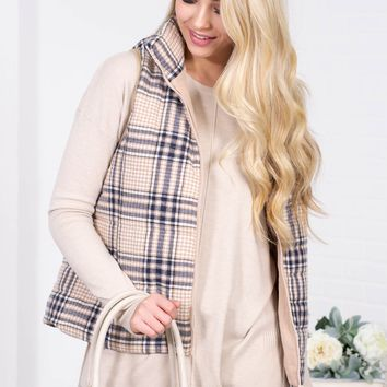 Quilted Plaid Fall Vest | Beige