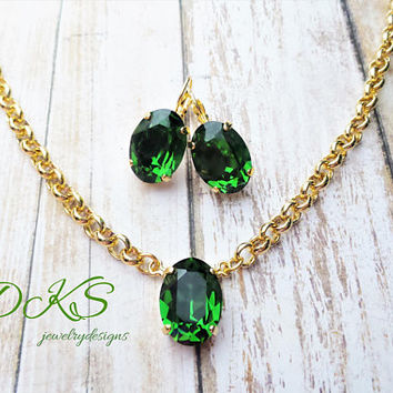 Green and Gold, Swarovski Oval Necklace Set, Solitare, Earrings, St Patricks Day Jewelry, Lever Backs, DKSJewelrydesigns, FREE SHIPPING
