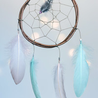 Small Dream Catcher Pink and Turquoise - Boho Bohemian Wall Hanging Baby Dream Catcher Tribal Crib Baby Nursery Car hanging Feathers