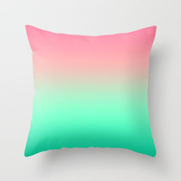 Mermaid Pink Teal Gradient Throw Pillow by xjen94 | Society6