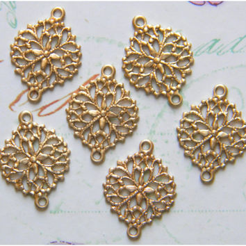 Raw Brass Filigree Connector Flower Stamping 12mm x 18mm - 6 pcs. (r179)
