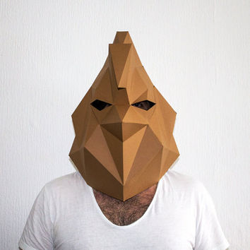 Make your own Rooster Mask, Animal Head, Instant Pdf download, DIY Halloween Paper Masks, Printable Templates, 3D Pattern, Polygon Masks