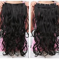 "OneDor® 20"" Curly 3/4 Full Head Synthetic Hair Extensions Clip On/in Hairpieces 140g 5 Clips (1b- Off Black)"