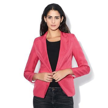 Fashion Jacket Blazer Women Suit Foldable Long Sleeves Lapel Coat Lined With Striped Single Button Blazers Jacket