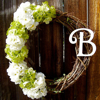 "Personalized 18"" Wreath, Hydrangea Wreath, Front Door Decor, Monogrammed Wreath, Year Round Wreath, Floral Wreath"
