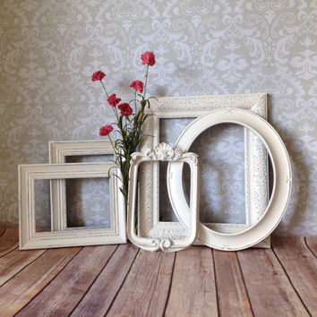 Vintage Style PICTURE FRAMES - shabby chic Wedding - w/ Glass N Backing