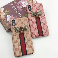 GUCCI New fashion bee pearl stripe more letter leather protective cover phone case