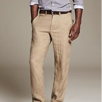 Straight-Fit Linen Drawstring Pant