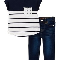 7 For All Mankind | Color Blocked Tee & Skinny Jean (Baby Girls) | Nordstrom Rack