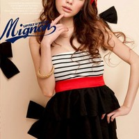 Women Strapless Stripes Tunic Tiered Mini Dresses