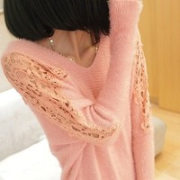Openwork lace bat sleeve V-neck sweater BBCCE from funkycatsterz
