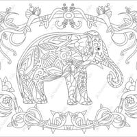 Magical Elephant Colouring Page (Downloadable page)