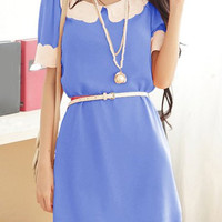 Blue Short Sleeve Chiffon Dress