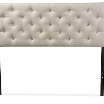 Baxton Studio Viviana Modern and Contemporary Light Beige Fabric Upholstered Button-tufted Queen Size Headboard  Set of 1