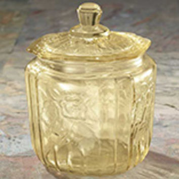 Antique Yellow Depression Style Glass Biscuit Jar