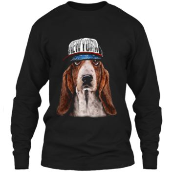 Rapper Basset Hound Dog in Hip Hop Hat New York LS Ultra Cotton Tshirt