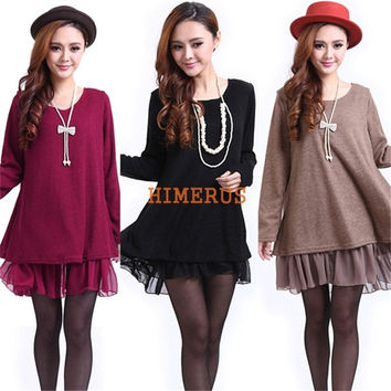 Winter Spring Casual Dress Tops Fashion Korean Maternity Lace Dress Knitwear Shirt for Women = 1946790532