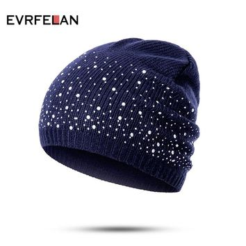 Evrfelan winter beanie hats women soft knitting skullies beanies hat female fashion rhinestone cotton hat cap