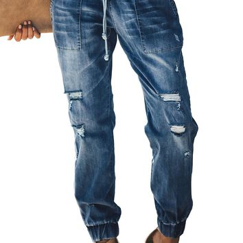 Blue Distress Drawstring Pocketed Ripped Jean Joggers