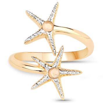 LoveHuang 0.08 Carats Genuine Ethiopian Opal Starfish Ring Solid .925 Sterling Silver With 18KT Yellow Gold Plating