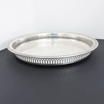 Silverplate serving tray - Footed silver serving tray - Round pierced silver tray - Butler tray Bar tray - 13 inches