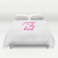 Cute Duvets, Jump on the Bed, Fun Sayings, Unique Quotes, White and Pink Bed, Custom Colors, Children's Bedding, Kids Bedroom, Queen or King