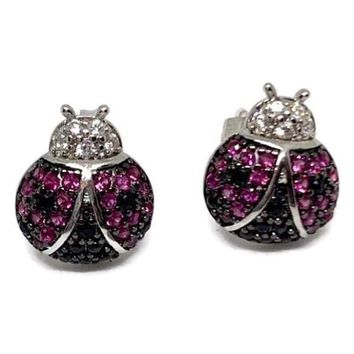HOT PINK LADYBUG STUDS SILVER PLATED EARRINGS