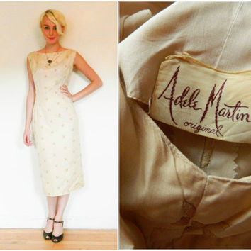 50s 60s vintage sheath dress / silk wiggle dress / embroidered tan Adele Martin cocktail dress / floral retro / low back rockabilly size L