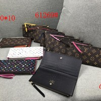 """Louis Vuitton"" Fashion Cute Multicolor Letter Print Purse Long Section Fold Wallet  Two Zip Clutch Bag"