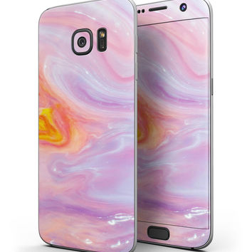 Marbleized Pink and Purple Paradise V2 - Full Body Skin-Kit for the Samsung Galaxy S7 or S7 Edge